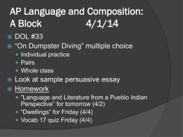 AP Language and Composition: A Block 4/1/14