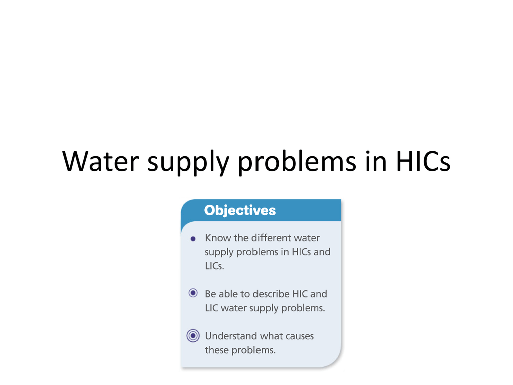 Water supply problems in HICs