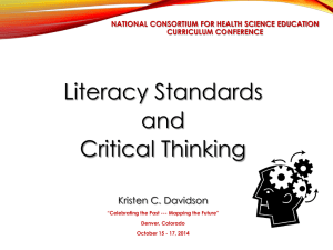 Davidson Literacy Standards and Critical Thinking