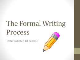 The Formal Writing Process - tulsasecondarylit
