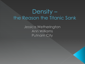 Density * the Reason the Titanic Sank