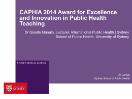 CAPHIA Award for Excellence and Innovation in Public Health