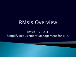 RMsis for JIRA - Optimizory Documentation
