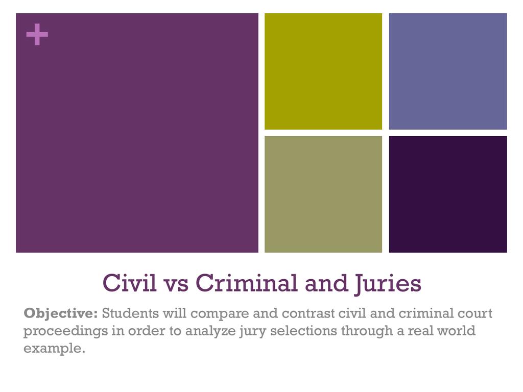 Civil vs Criminal and Juries
