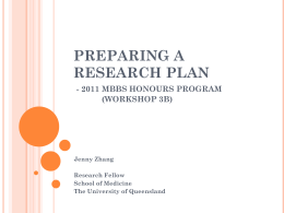 research plan - School of Medicine