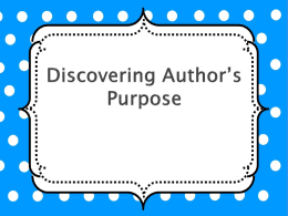 Discovering Author`s Purpose