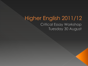 Higher English 2011/12
