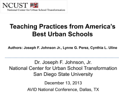 Teaching practices from America`s best urban schools
