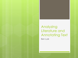 Analyzing Literature and Annoting Text