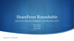 Self Service Business Intelligence with SharePoint 2013