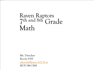 PowerPoint Presentation - Raven Raptors 6th & 7th Grade Math