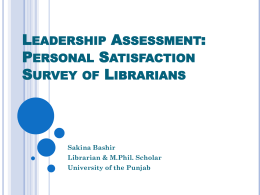 Leadership Assessment Personal satisfaction Survey of Librarians
