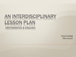 An Interdisciplinary Lesson Plan (Mathematics & English)