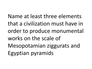 Name at least three elements that a civilization must have in order to