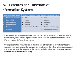 P4 * Features and Functions of Information Systems