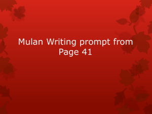 Mulan Thesis and Example