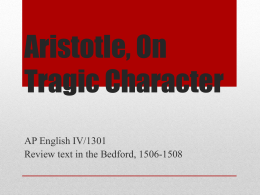 Aristotle, On Tragic Character