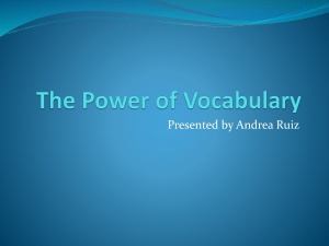 The Power of Vocabulary Webinar material