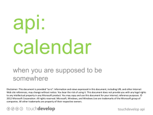 api calendar - TouchDevelop
