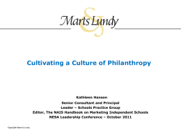 Cultivating a Culture of Philanthropy