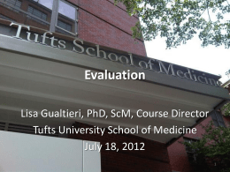 Formative evaluation - Web Strategies for Health Communication