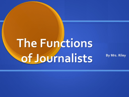 The Functions of Journalists