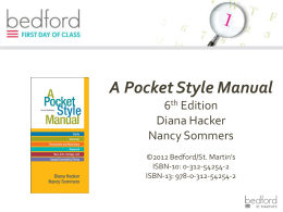 A Pocket Style Manual - Bedford/St. Martin`s