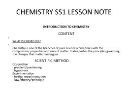 Chemistry lesson note