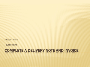 Complete a Delivery Note and Invoice
