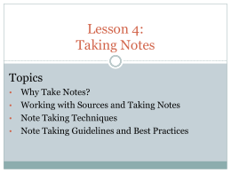 Lesson 3: Taking Notes