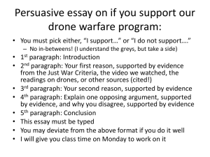 5 Paragraph essay on if you support our drone warfare