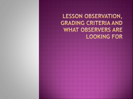 Lesson observation, grading criteria and what observers are looking