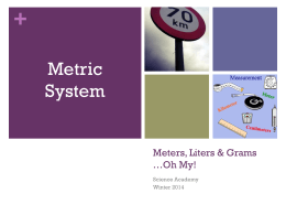 Meters, Liters & Grams *Oh My!