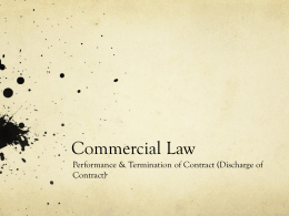 Commercial law Discharge of Contract