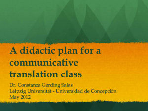 A didactic plan for a communicative translation class