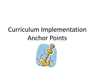 Curriculum Implementation Anchor Points - Dr-Eickholt