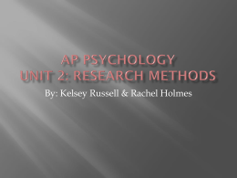 AP Psychology Unit 2: Research Methods