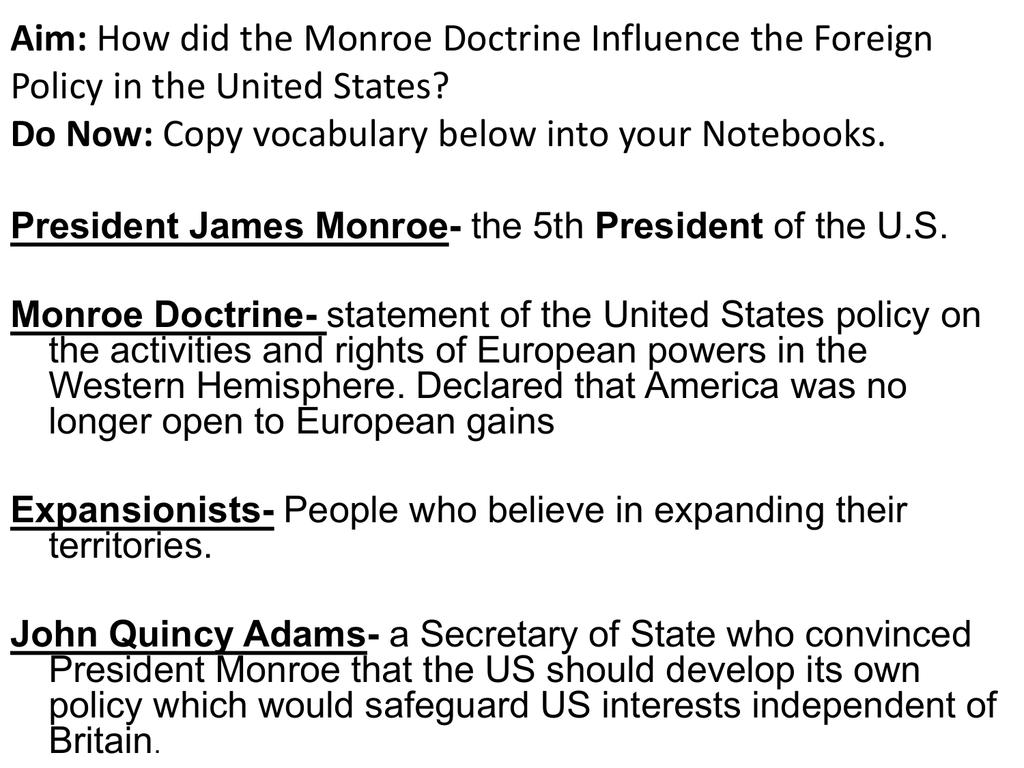Worksheets Monroe Doctrine Worksheet monroe doctrine john bowne high school