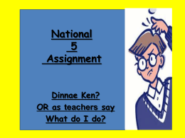 National 5 assignment tips