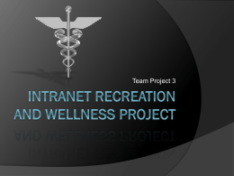 Intranet Recreation and Wellness Project