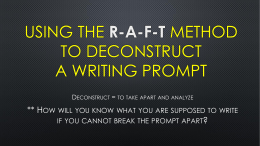 Using the r-a-f-t method to deconstruct a writing prompt