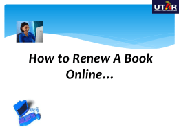 How to Renew A Book Online…