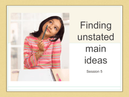 Finding unstated main ideas