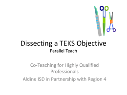 Dissecting a TEKS Objective