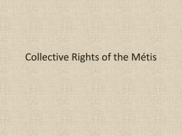 Collective Rights of the Métis