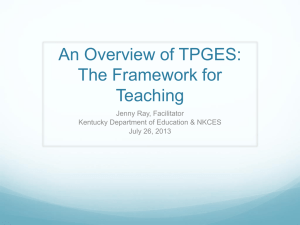 An Overview of TPGES: The Framework for Teaching