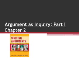 Ch 2 Argument as Inquiry