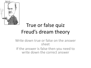 True or false quiz Freud*s dream theory