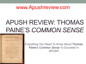 Thomas Paine`s Common Sense