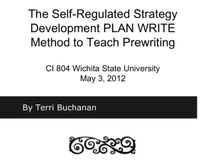 The Self-Regulated Strategy Development PLAN WRITE
